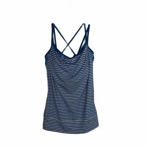 Lucy Blue Striped Workout Tank Top Bra Med